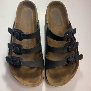 Birkenstock Shoes - 38 Birkenstock Florida Black 3 Strap Birko Flor